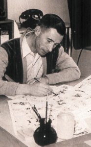 Tintin creator Hergé at work