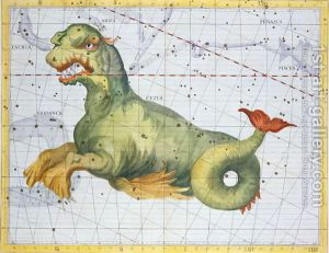 Constellation-Of-Cetus-The-Whale,-From-Atlas-Coelestis-By-John-Flamsteed-1646-1719,-Pub.-In-1729